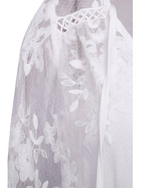women Lace See-Through Long Sleeve Dress - WHITE XL Mobile