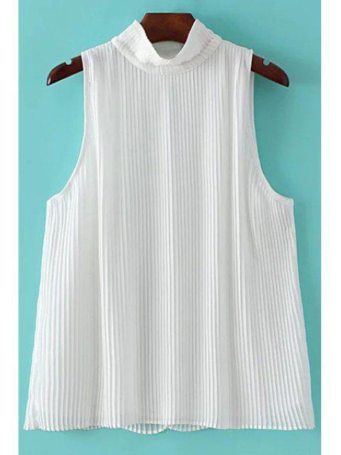 affordable Pleated Stand Collar Sleeveless Chiffon T-Shirt - WHITE L Mobile