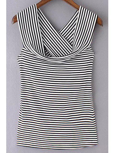 Rayé Off The Shoulder T-shirt Retour Crossed - Noir S Mobile