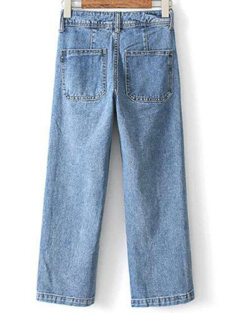sale Loose High Waisted Double-Breasted Jeans - LIGHT BLUE XL Mobile