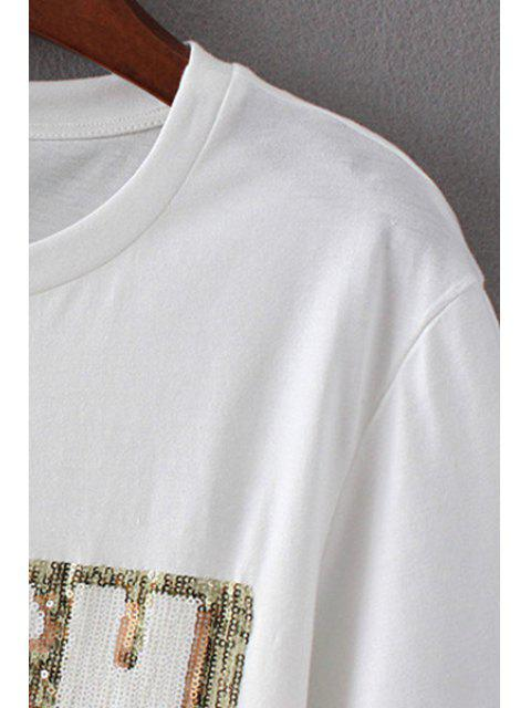 shops Letter Print Round Neck Short Sleeve Sequins T-Shirt - PINK S Mobile