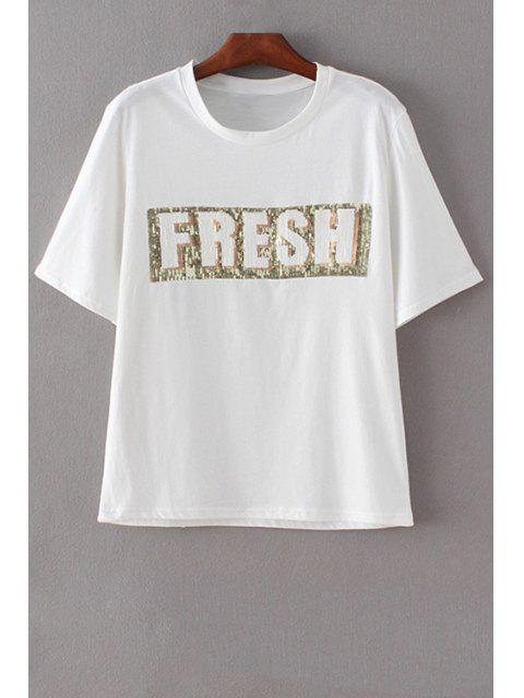 shop Letter Print Round Neck Short Sleeve Sequins T-Shirt - WHITE L Mobile