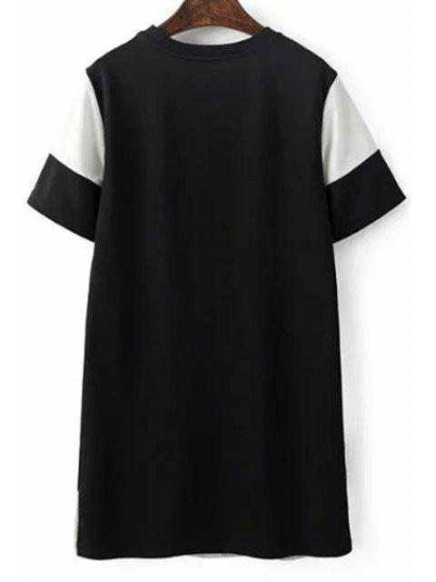 fashion Cartoon Embroidery Round Neck Short Sleeve Dress - COLORMIX S Mobile