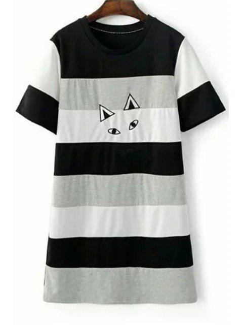 fashion Cartoon Embroidery Round Neck Short Sleeve Dress -   Mobile