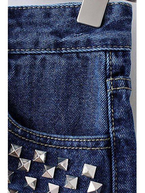 Shorts Rivet Color Block Denim - Bleu M Mobile