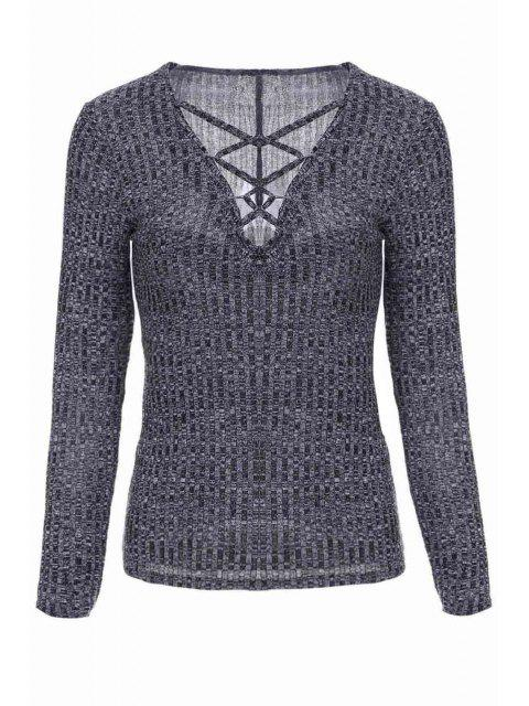 lady Gray Plunging Neck Long Sleeve Jumper - GRAY M Mobile