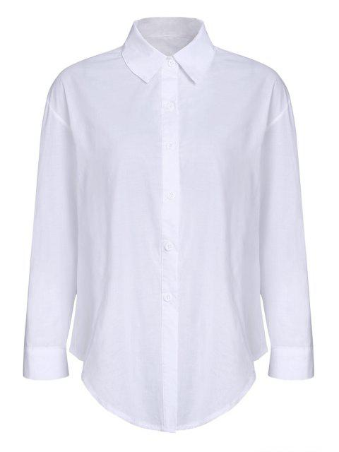 Pure Color Turn Down Collar camisa de manga larga - Blanco M Mobile