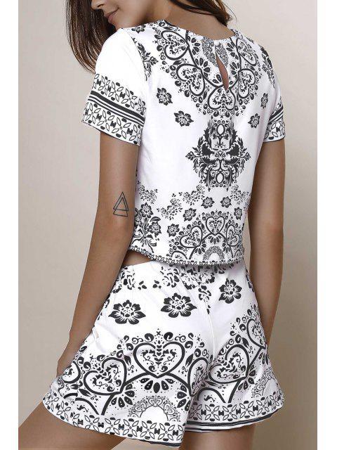 Crop Top à manches courtes + Porcelaine Imprimer Shorts Twinset - Noir L Mobile