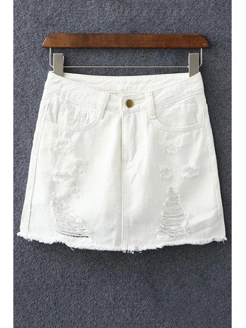 best Denim Ripped Culotte Shorts - WHITE L Mobile