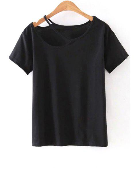 shop Cut Out Round Collar Short Sleeve T-Shirt - BLACK L Mobile