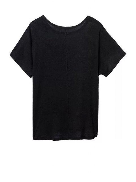 fancy Printed Round Neck Short Sleeve Loose T-Shirt - COLORMIX M Mobile