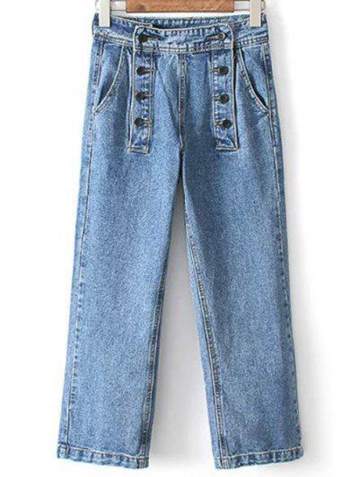 Loose High Waisted Double-Breasted Jeans - Light Blue Xl