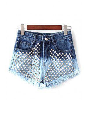Rivet Color Block Denim Shorts - Blue M