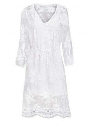Lace See-Through Long Sleeve Dress - White L