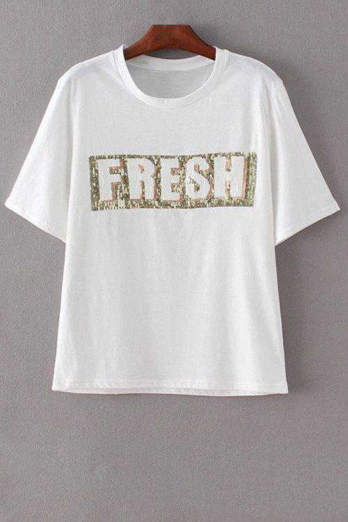 Letter Print Round Neck Short Sleeve Sequins T-Shirt - WHITE M