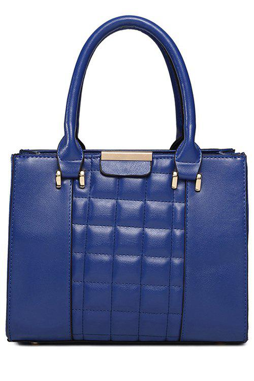 Solid Color Checked PU Leather Tote Bag - BLUE