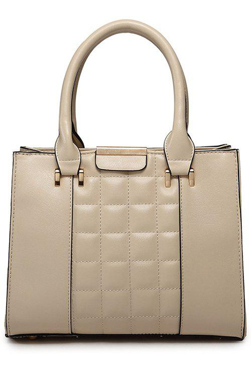 Solid Color Checked PU Leather Tote Bag - APRICOT