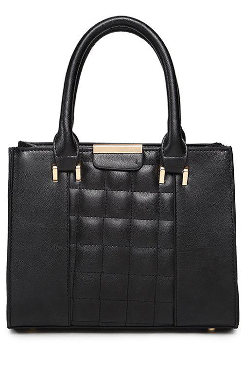 Solid Color Checked PU Leather Tote Bag - BLACK