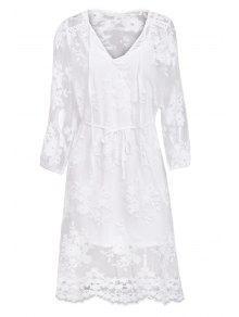 فستان الدانتيل شفاف طويلة الأكمام - أبيض S