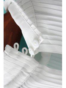 L Blanco Soporte Collar Gasa Del Camiseta De De La Sin Plisado Mangas PAxBnqP