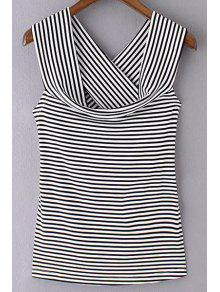 Striped Off The Shoulder Back Crossed T-Shirt - Black S