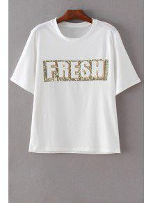 Letter Print Round Neck Short Sleeve Sequins T-Shirt - White S