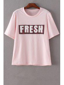 Letter Print Round Neck Short Sleeve Sequins T-Shirt - Pink S