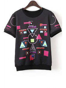 Geometric Print Mesh Back T-Shirt - Black M