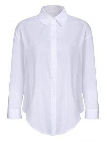 Pure Color Turn Down Collar Chemise Manches Longues - Blanc M
