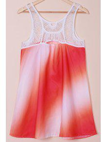 Print Openwork Lace Splicing Dress - L