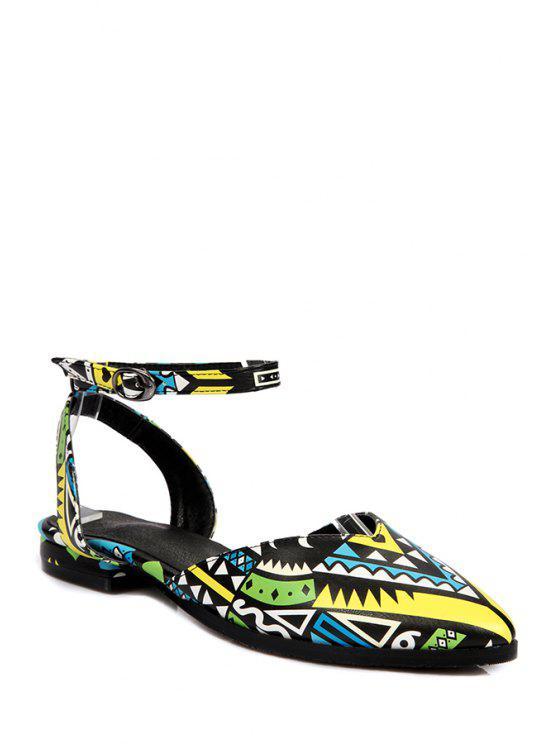 sale Print Ankle Strap Flat Heel Sandals - YELLOW 39