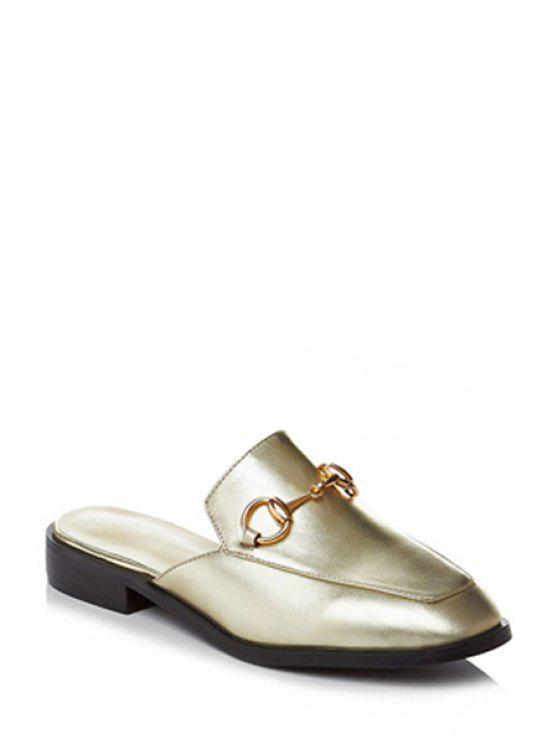 Metal Color sólido sandalias de tacón plano - Dorado 39