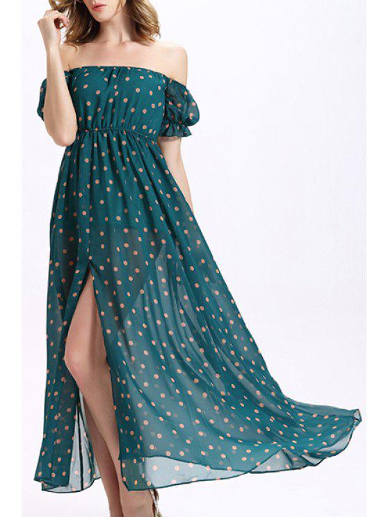 online Off-The-Shoulder Chiffon Prom Dress - GREEN XL