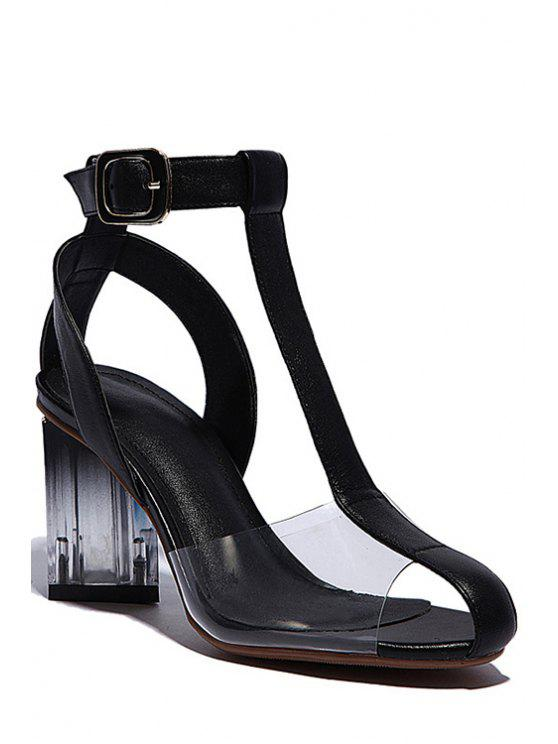 women Transparent T-Strap Chunky Heel Sandals - BLACK 38