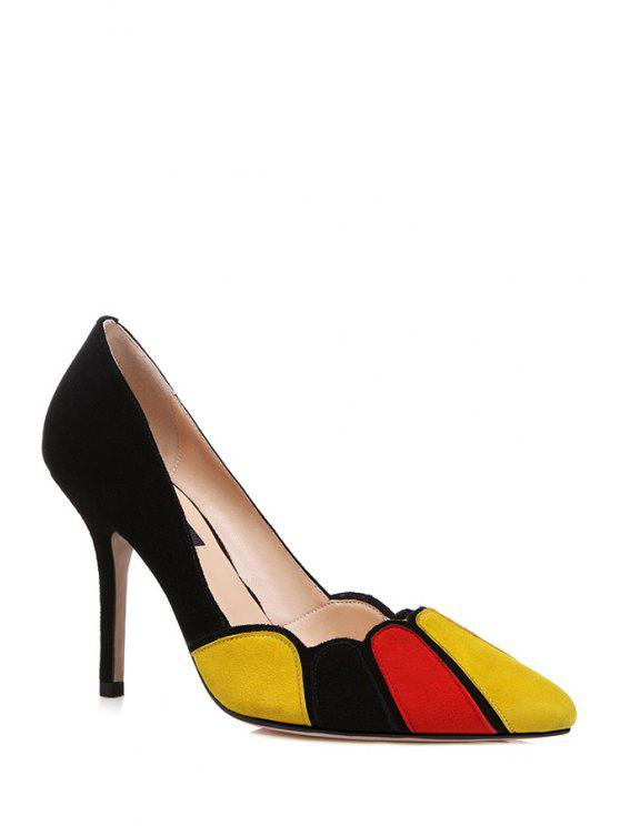 shops Color Block Stiletto Heel Pointed Toe Pumps - BLACK 34