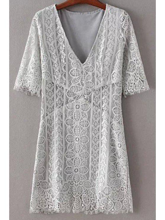 latest Solid Color Plunging Neck Half Sleeve Lace Dress - GRAY M
