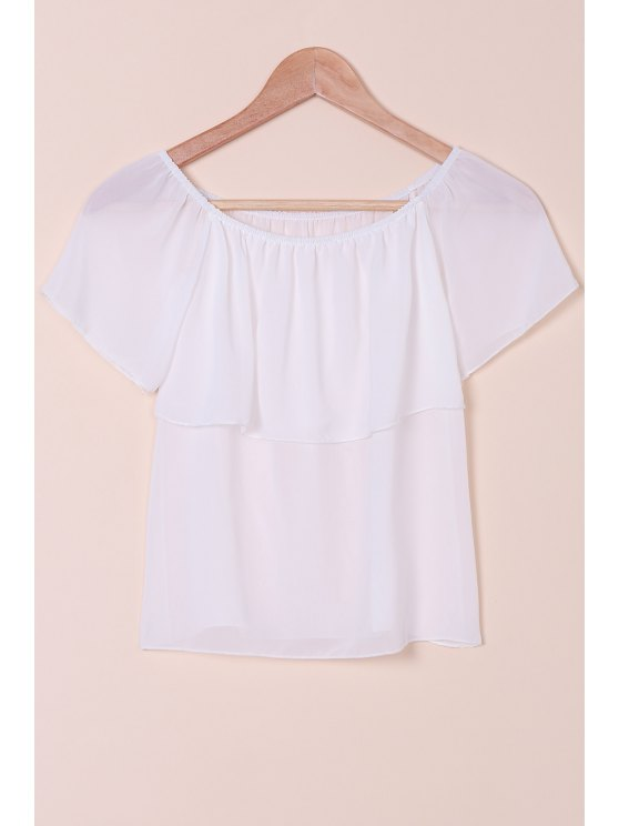 fashion Slash Neck Solid Color Chiffon T-Shirt - WHITE S