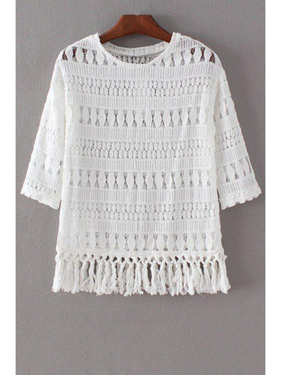 womens Tassels Spliced 3/4 Sleeve Round Collar Lace T-Shirt - WHITE S