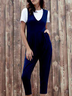 Chic Plunging Neck Sleeveless Pocket Design Solid Color Women's Jumpsuit - Deep Blue M