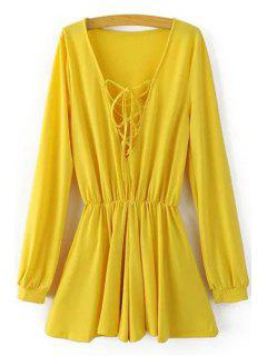 Fitting Lace-Up Plunging Neck Long Sleeve Romper - Yellow S
