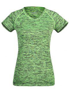 Heathered Breathable Sports T-Shirt - Green M