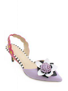 Color Block Flower Pointed Toe Sandals - Purple 39
