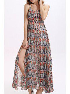 Printed High Furcal Chiffon Flowing Dress - M