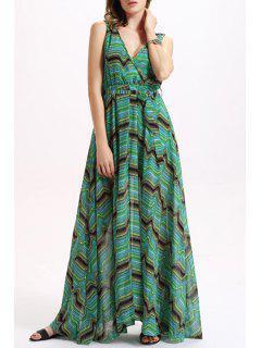 Wavy Stripe Chiffon Breezy Dress - Green Xl