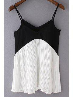 Chiffon Spaghetti Straps Color Block Tank Top - White And Black S