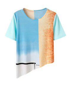 Irregular Hem Round Collar Short Sleeve Printed T-Shirt - S