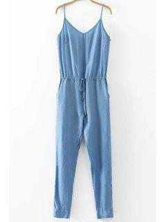 Solid Color Belted Cami Manches Denim Jumpsuit - Bleu S