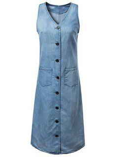 Single-breasted Col Rond Manches Denim Dress - Bleu S