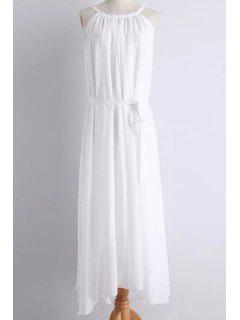 Solid Color Round Collar Belted Maxi Dress - White M