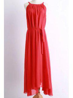 Solid Color Round Collar Belted Maxi Dress - Red M